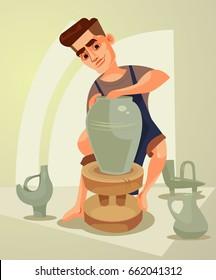 Happy smiling potter character makes clay pot. Vector flat cartoon illustration