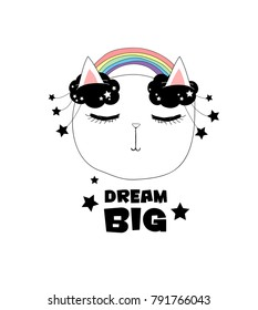 """happy smiling pretty sleeping cat face, beautiful cool childish girlish isolated artwork with text """"dream big"""", for summer clothes, wall art, cards, fabric, embroidery etc."""