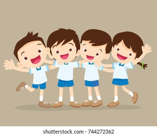 happy smiling pupil hugging friends.Group of Childern stand hugging.Four pupil boy and girl be happy.
