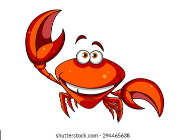 Happy smiling red cartoon marine crab character waving a big claw, isolated on white