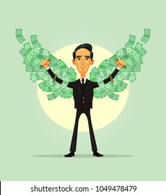 Happy smiling rich wealthy office worker businessman character have money wings. Financial independence concept. Vector flat cartoon illustration