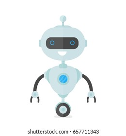 Happy smiling robot, chat bot,humanoid. Vector modern flat style character cartoon illustration design. Isolated on white background. Smile bot,chat bot