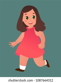 Happy smiling runnig baby girl in a pink dress. Isolated image.