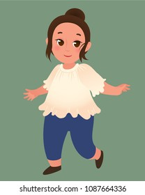 Happy smiling runnig baby girl in a white blouse and blue pants. Isolated image.