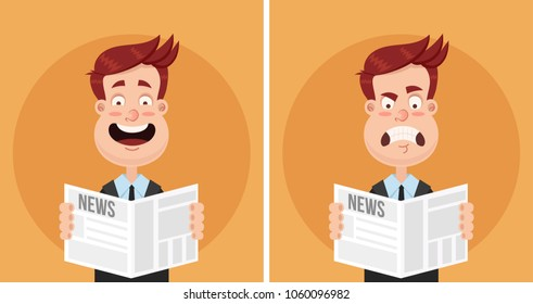 Happy smiling and sad disappointed frustrated angry expression face man businessman manager office worker character reading newspaper text article. Daily news tabloid concept. Positive and negative