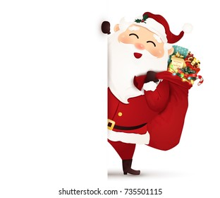 Happy smiling Santa Claus standing behind a big signboard, advertisement banner.  Christmas Santa Claus with gift bag full of gift boxes and present, candy cane. vector illustration.