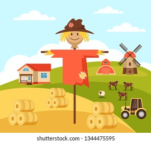 Happy smiling scarecrow character standing on meadow. Farming agriculture concept. Vector flat graphic design isolated illustration