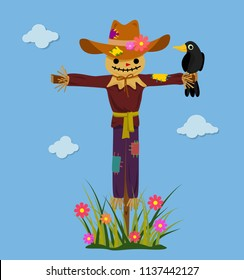 Happy smiling scarecrow with crow. Vector illustration.