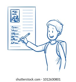 Happy, smiling school boy, signing in for his favorite book reading. Hand drawn line art cartoon vector illustration.