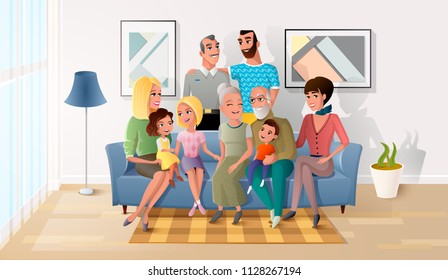 Happy Smiling Senior Couple Gathering Together with their Adult Children, Grandchildren and Great-Grandchildren in Living Room at Home. Four Generation of United Family Cartoon Vector Illustration