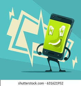 Happy smiling smart phone full of energy and power. Vector flat cartoon illustration