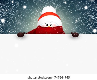 Happy smiling snowman standing behind a blank sign, with falling snow showing on big blank sign. vector illustration.