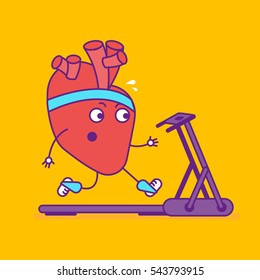 Happy smiling strong heart logotype. Cheerful cartoon character jogging on treadmill. Happy cardiovascular symbol or sign. Vector illustration