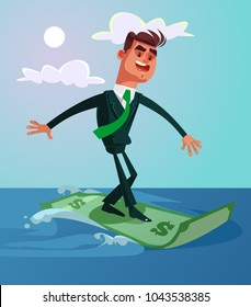 Happy smiling successful surfer office worker businessman ride dollar banknote. Vector cartoon illustration