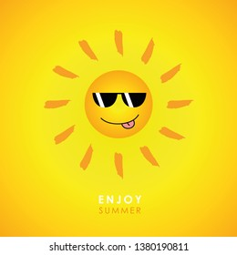 happy smiling sun with sunglasses on yellow background vector Illustration EPS10