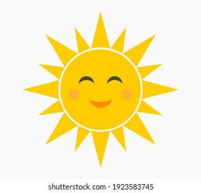 Happy smiling sun symbol. Vector illustration.