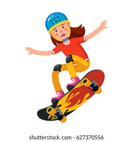 Happy smiling teen boy in wearing helmet and kneepads jumping on skateboard. Skateboarding ride. Flat style character vector illustration isolated on white background.