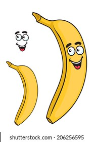 Happy smiling tropical ripe yellow cartoon banana fruit isolated on white background