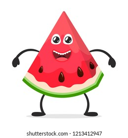 Happy smiling watermelon. Funny fruit concept. Flat cartoon character icon. Vector illustration.