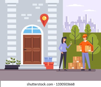 Happy smiling woman consumer character receiving package parcel box from courier man boy wearing uniform. Delivery to door home house apartment concept. Vector flat graphic design illustration banner
