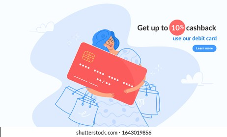 Happy smiling woman hugging big red bank card. Flat modern concept vector illustration of people who use debit card and get cashback for shopping. Casual consumer with plastic card on white background