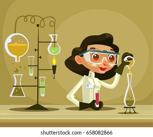 Happy smiling woman scientist character hold flask. Vector flat cartoon illustration