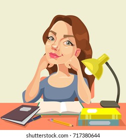 Happy smiling woman secretary character thinking and dreaming at workplace. Vector flat cartoon illustration