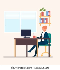 Happy smiling woman secretary office worker character working at workplace. Business occupation working time concept. Vector design graphic flat cartoon isolated illustration
