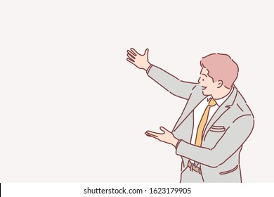 Happy smiling young man presenting and showing your text or product isolated on white background. Hand drawn style vector design illustrations.