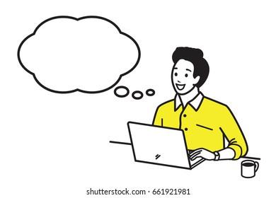 Jeune homme heureux et souriant travaillant avec un ordinateur portable avec une tasse de café chaud le matin, se faisant une idée avec la bulle de la parole. Style de contour, dessin à la main, esquisse, gribouillage, dessin animé.
