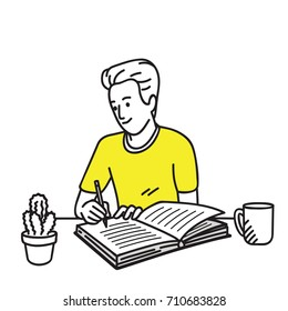 Happy and smiling young man writing diary on his working desk. Vector illustration character, cartoon, outline, thin art line, linear, hand drawn sketch design, simple style.