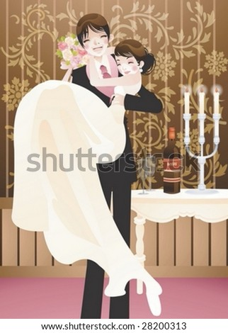 Happy Smiling Young Married Couple Romantic Stock Vector Royalty