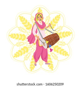 Happy smiling young Sikh woman in Punjabi pink salwar kameez suit, dupatta shawl, playing traditional dhol drum on Indian harvest festival Lohri, party. Golden flower mehendi mandala with wheat ears