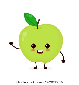 Happy smilling cute apple. Vector modern flat style cartoon character illustration icon design.Isolated on white background. Apple fruit healthy food, good nutrition,vegetarian concept