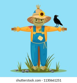 Happy smilling scarecrow in hat, shirt with black crow isolated on background. Cartoon character, friendly face. Agriculture, gardening, farming concept. Vector flat design