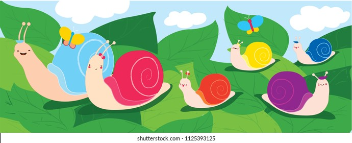 Happy snail family. Parents with four children walking on leaves. Emotions of joy and happiness. Use as illustration for childrens books wallpaper for kids room postcards book covers. Vector hand draw