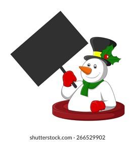 Happy Snowman Holding a Blank Board