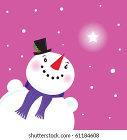 Happy Snowman lady looking at snow. Snowman looking at the snow and christmas star. Vector Illustration.