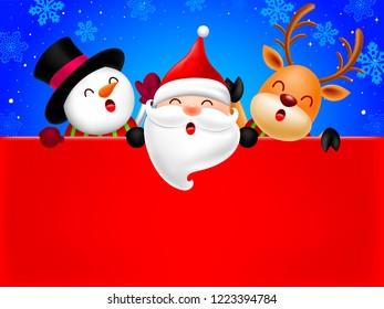 Happy Snowman, Santa Claus and Reindeer holding blank advertisement banner background with copy space. Christmas theme concept. Illustration.