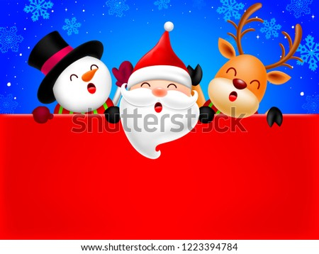 3faa292dd9ca6 Happy Snowman Santa Claus Reindeer Holding Stock Vector (Royalty ...