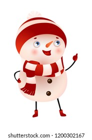 Happy snowman showing thumbs up vector illustration. Christmas, New year, childhood. Holiday concept. Vector illustration can be used for topics like winter, celebration, animation