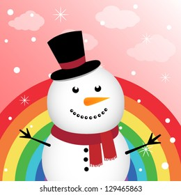 Happy snowman in the sky with rainbow