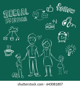 Happy social network young family in casual clothes with two children. Hand drawn line art cartoon vector illustration.Happy family sketch.Hand drawn vector  set of social media and symbol mobile .