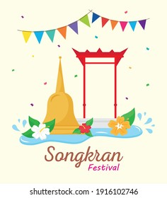 happy songkran festival lettering with bell and garlands vector illustration design