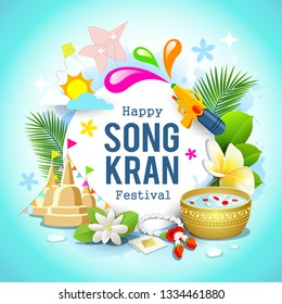 Happy Songkran festival Thailand beautiful design background, vector illustration