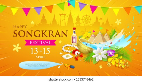 Happy Songkran Thailand Water splashing festival design yellow background, vector illustration