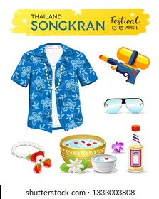 Happy Songkran's Day Thailand collections isolated on white background, vector illustratio