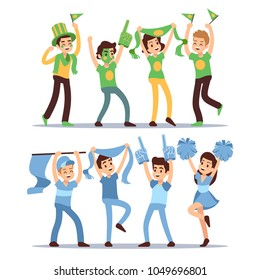 Happy sports fun teams. Group shouting supporting people vector set. Fun football fan, spectato and supporter illustration