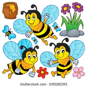 Happy spring bees theme set 1 - eps10 vector illustration.