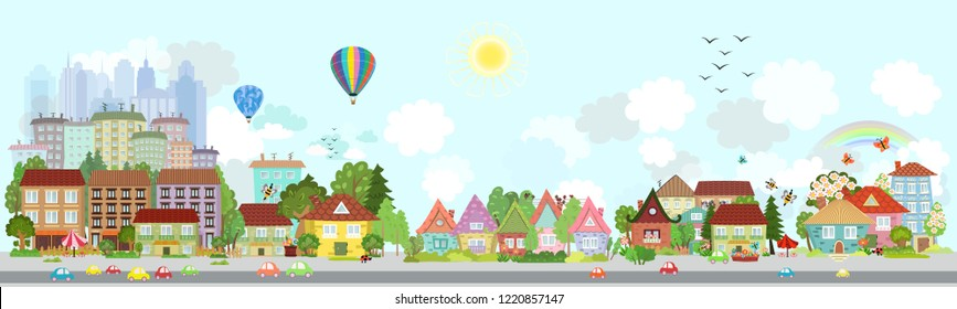 happy spring cityscape for your design